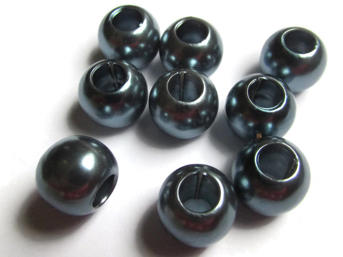 40 12mm Large Hole Pearls Slate Grey Pearls Faux Pearl Beads European Beads