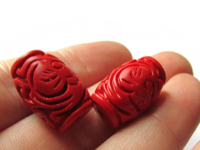 2 Carved Cinnabar Barrel Beads Cinnabar Beads Tube Beads Lacquer Beads Loose
