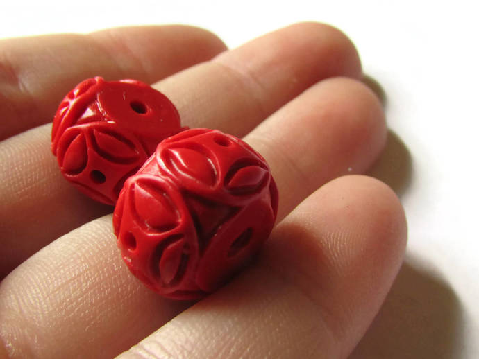 2 Carved Cinnabar Drum Beads Cinnabar Beads Rondelle Beads Lacquer Beads Loose