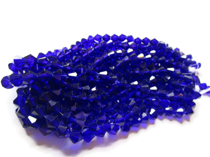 39 8mm Cobalt Blue Beads Crystal Beads Faceted Bicone Beads Full Strand 12