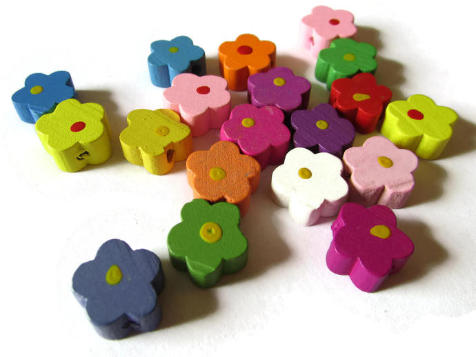 12mm Mixed Color Flower Beads Wood Beads Loose Beads Jewelry Making Beading