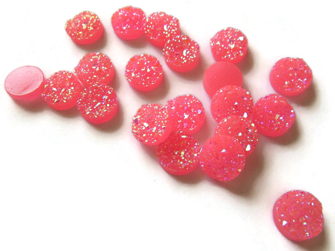 Pink Druzy Cabochon Faux Druzy Cabochons 12mm Round Cabochons Resin Cabochons
