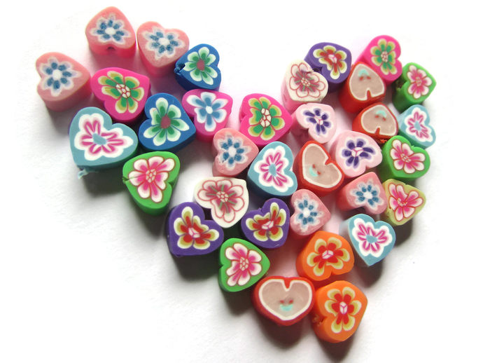 35 Clay Heart Beads Polymer Clay Beads Mixed Beads Multicolor Beads Floral Heart