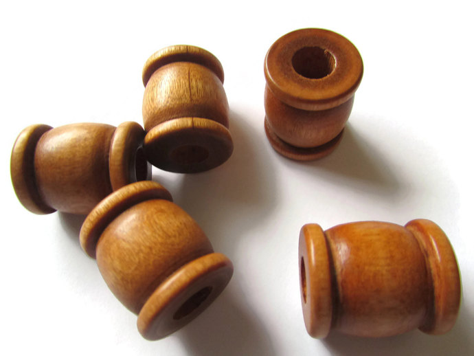 5 22mm Brown Drum Beads Big Wooden Beads Brown Spool Beads Large Hole Beads