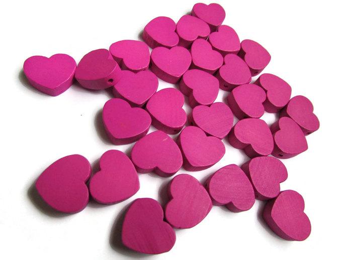 30 19mm Purple Heart Beads Purple Wooden Beads Loose Beads Flat Heart Beads