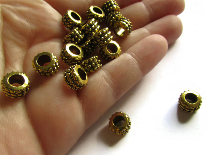 20 6mm x 9mm Gold Rondelle Tube Beads Bumpy Beads Tibetan Style European Beads