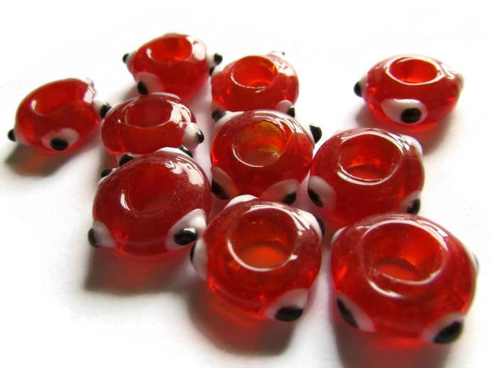 10 Red Evil Eye Beads Lampwork Glass Beads Large Hole Beads Donut Beads European