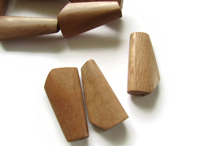 7 41mm Smooth Wood Beads Abstract Polygon Beads Brown Beads Vintage Beads Wood
