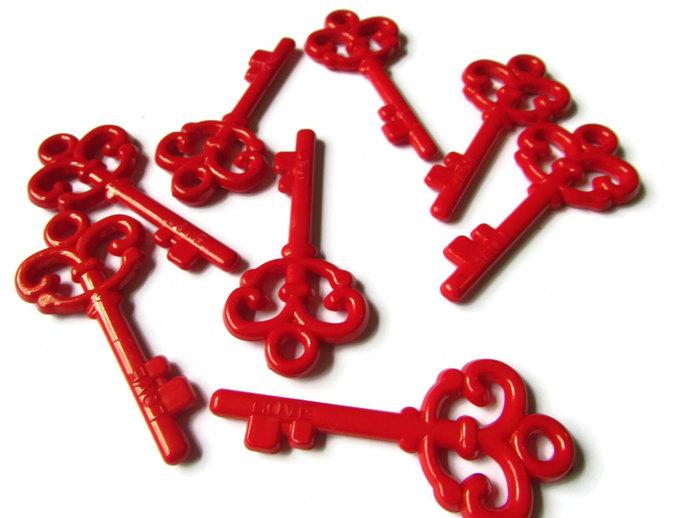 Plastic Key Charm Red Skeleton Key Charms Love Key Pendant Key to Your Heart