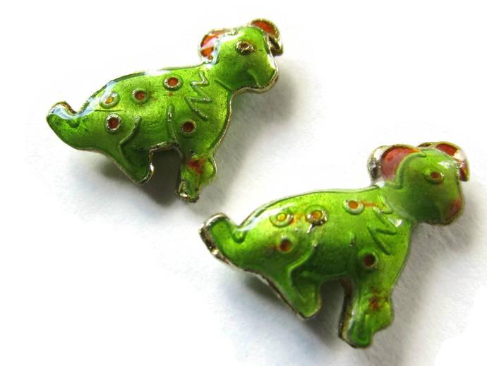2 19mm Light Green Cloisonne Dog Beads Green Dalmatian Beads Animal Beads Pet