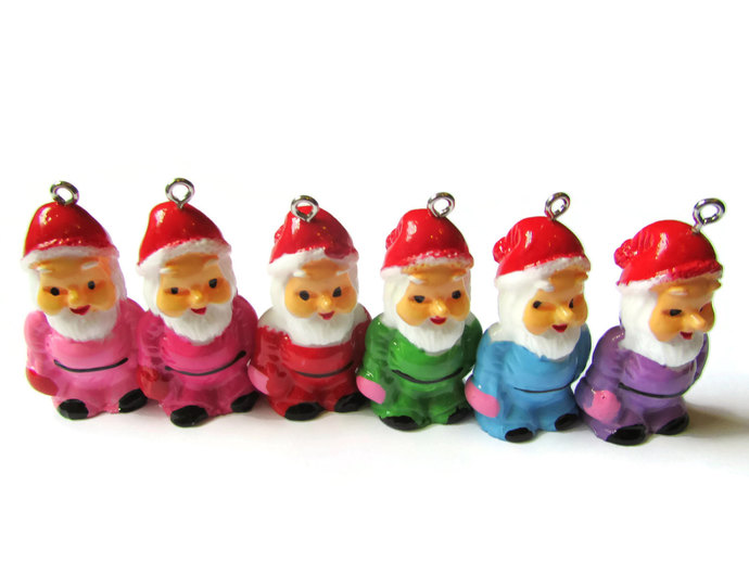 2 Mixed Color Gnomes Garden Gnome Charms 34mm Resin Charms Santa Claus Pendant
