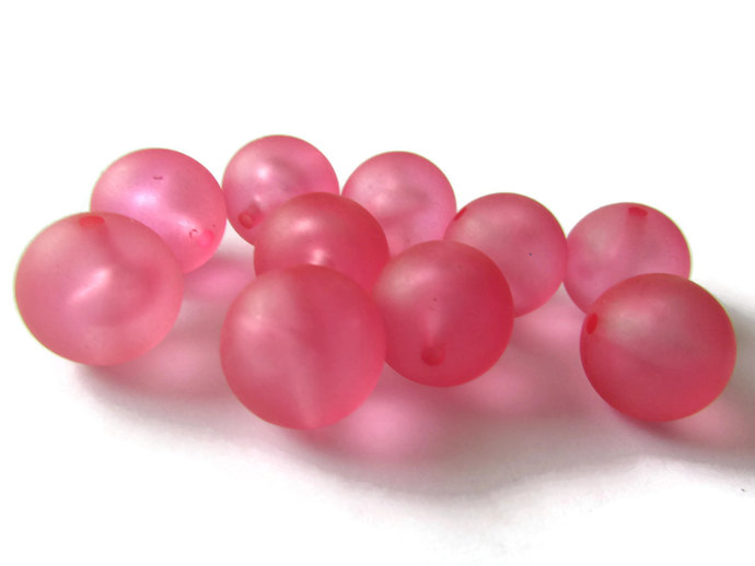 10 14mm Round Pink Beads Vintage Lucite Beads Frosted Lucite Beads Ball Beads