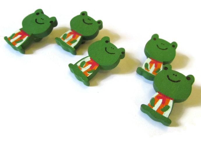5 26mm Green Frog Button Wooden Buttons Shank Buttons Froggy Buttons Cute