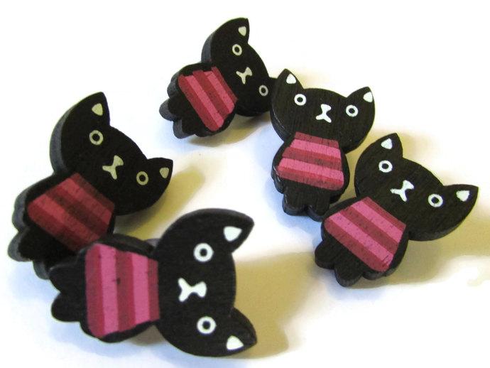 5 24mm Black Cat Button Wooden Buttons Shank Buttons Kitty Cat Buttons Kitten