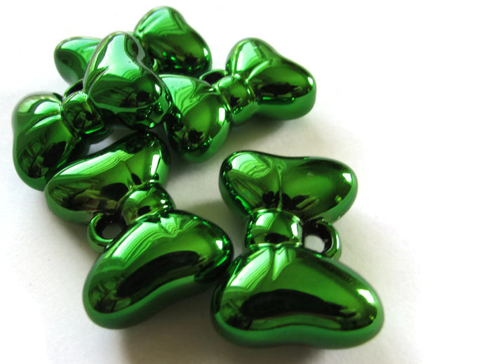 5 Green Bow Beads Acrylic Charms Bow Charms Bow Pendants Large Charms Metal Look
