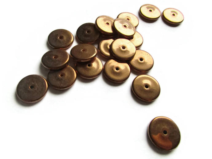 20 14.5mm Vintage Red Copper Beads Flat Coin Beads Copper Plated Plastic Beads