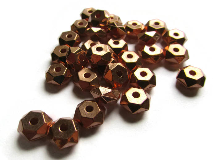 30 8mm Vintage Red Copper Beads Faceted Rondelle Beads Copper Plated Plastic