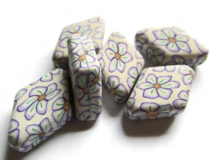 27mm Flower Rhombus Beads Polymer Clay Beads Diamond Beads Patterned Beads Loose