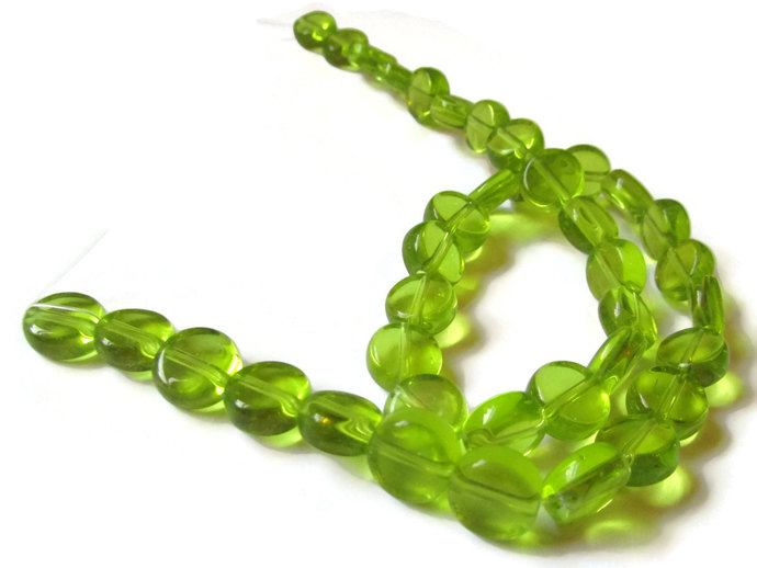 36 10mm to 11mm Yellow Green Beads Crystal Coin Beads Flat Round Bead Full