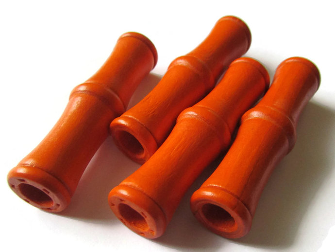 Orange Wood Tube Beads Wooden Beads Vintage Beads 60mm Beads Macame Beads Large