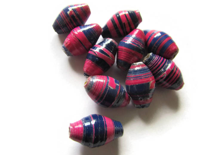 10 14mm Pink and Blue Striped Ugandan Paper Beads Fair Trade Beads African Paper