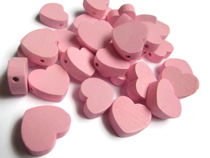 30 Pink Heart Beads Wooden Beads 19mm Beads Loose Beads Pink Wood Beads Jewelry