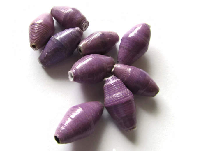 10 14mm Light Purple Beads Ugandan Paper Beads Fair Trade Beads African Paper