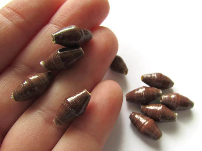 10 14mm Brown Beads Ugandan Paper Beads Fair Trade Beads African Paper Beads