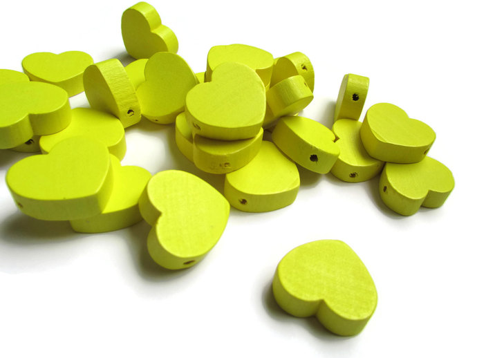30 19mm Yellow Heart Beads Wooden Beads Loose Beads Wood Beads Loose Beads Flat