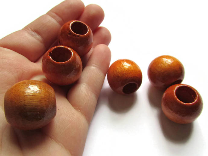 6 21mm x 19mm Medium Brown Beads Round Wood Beads Vintage Beads Wooden Beads