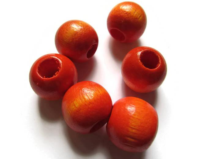 6 21mm x 19mm Orange Beads Round Wood Beads Vintage Beads Wooden Beads Large