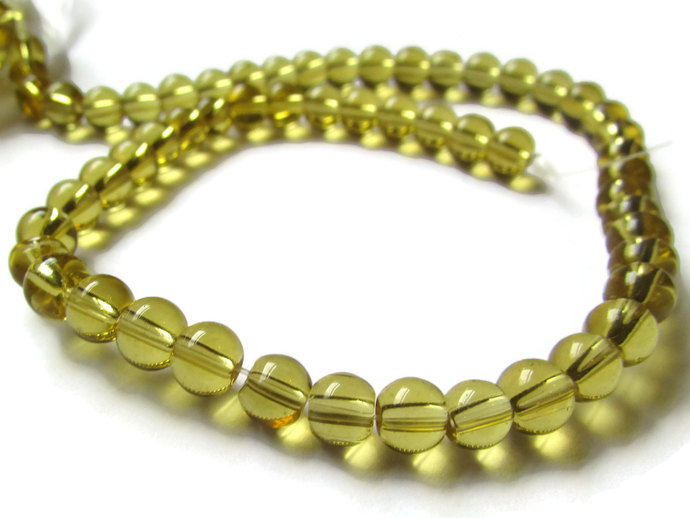 55 Golden Yellow Beads Smooth Round Beads Crystal Beads Full Strand Glass Beads