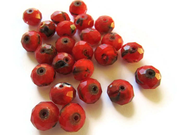 24 9x12mm Rondelle Beads Red Beads Glass Beads Faceted Rondelle Beads Jewelry