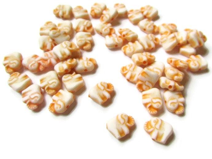 50 Orange Elephants Tiny Beads Plastic Beads Acrylic Animal Beads Miniature
