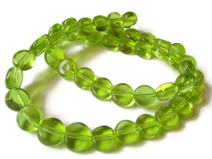 47 8mm to 9mm Lime Green Beads Crystal Coin Beads Full Strand Flat Round Beads