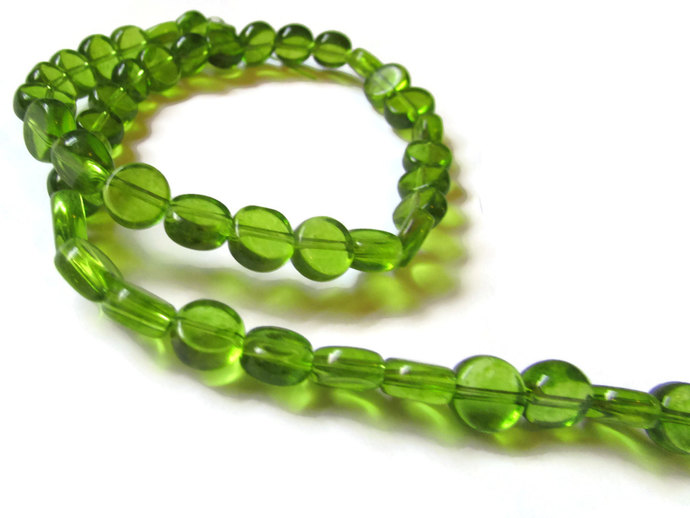 46 8mm to 9mm Green Crystal Beads Coin Beads Full Strand Flat Round Beads