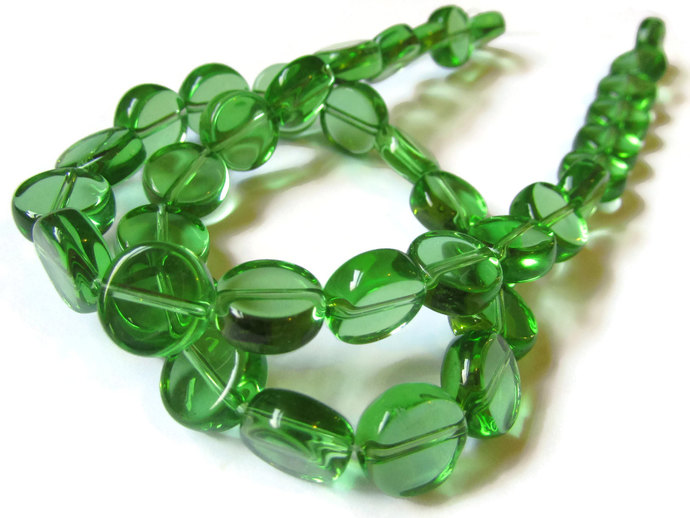 36 10mm Beads to 11mm Beads Green Beads Crystal Coin Beads Flat Round Bead Full