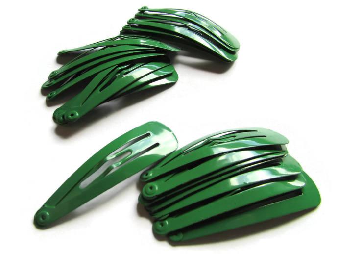 20 47mm Green Barrettes Hair Decor Barrette Blanks Iron Clips Snap Barrettes