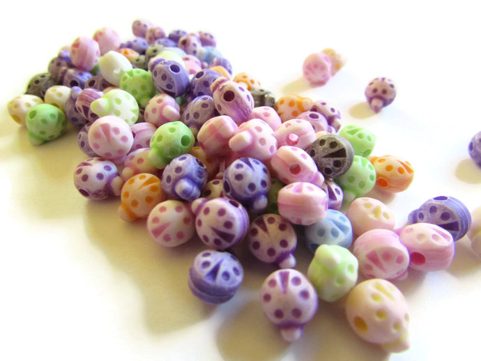 100 8mm Mixed Color Plastic Ladybug Beads Animal Beads Cute Acrylic Lady Bug