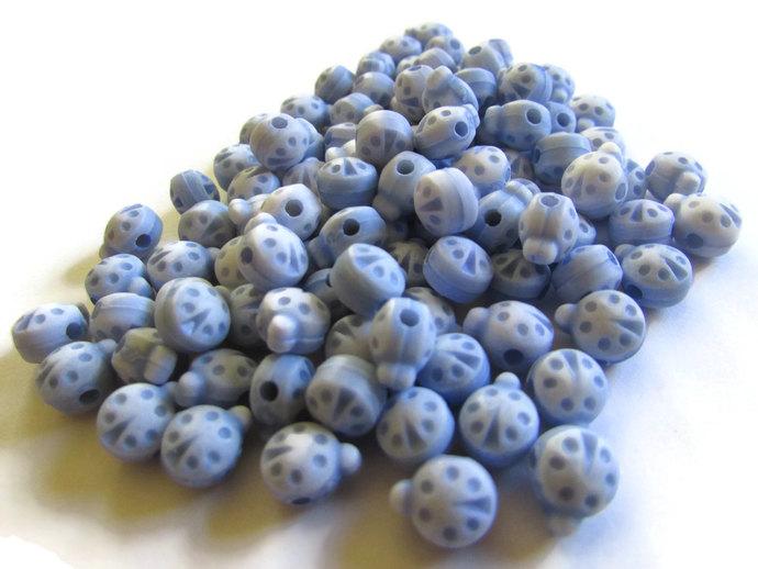 100 8mm Blue Ladybugs Plastic Ladybug Beads Animal Beads Lady Bug Beads Insect