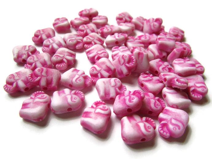 50 Bright Pink Elephants Tiny Plastic Beads Miniature Animal Beads Acrylic Beads
