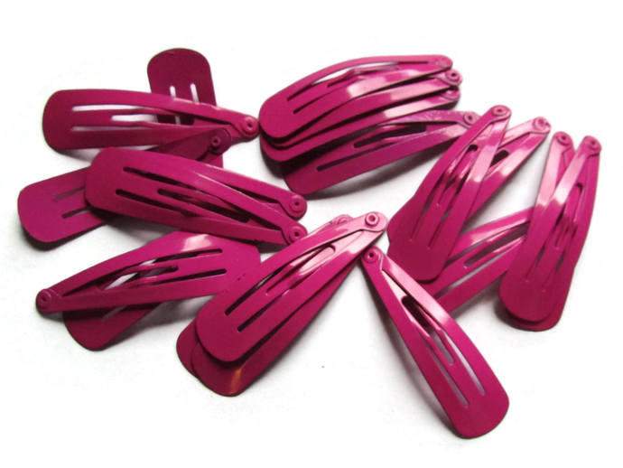 20 47mm Bright Pink Barrettes Hair Decor Barrette Blanks Iron Clips Snap