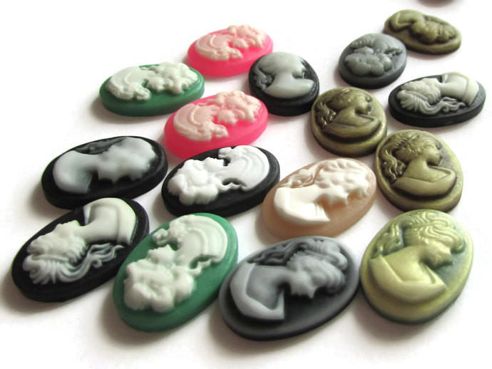 10 18x13mm Mixed Color Cameo Cabochons Woman's Face Cameo Cabs 18mm x 13mm