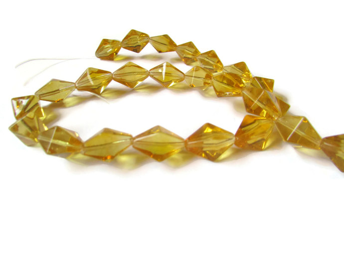 24 15mm Beads Honey Orange Beads Crystal Beads Diamond Beads Crystal Bicone