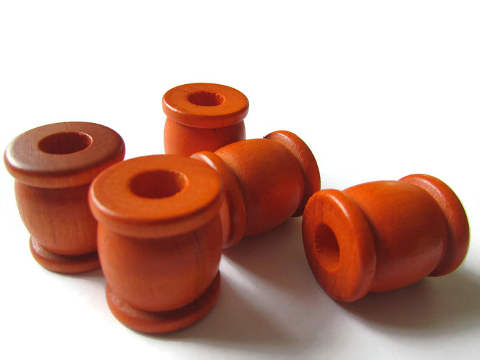 5 22mm Orange Drum Beads Big Wooden Beads Orange Spool Beads Large Hole Beads