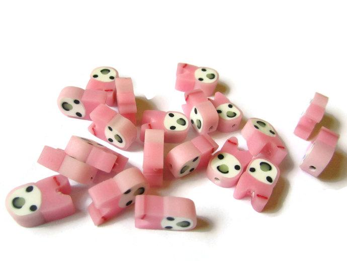 20 Pink Bunny Heads Pink Rabbit Beads Miniature Animal Beads Polymer Clay Beads