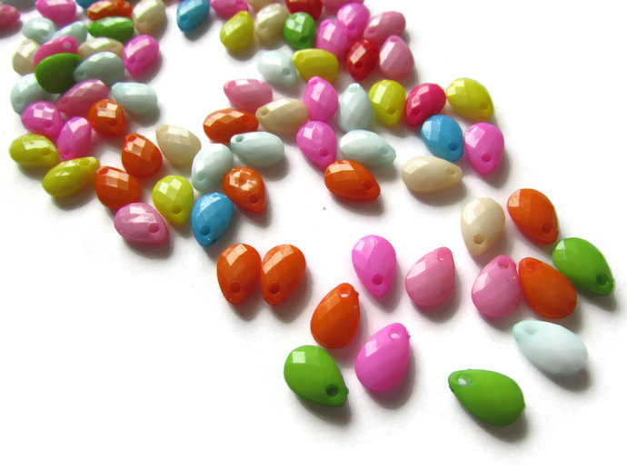 100 9mm Mixed Color Briolette Beads Faceted Teardrops Beads to String Assorted