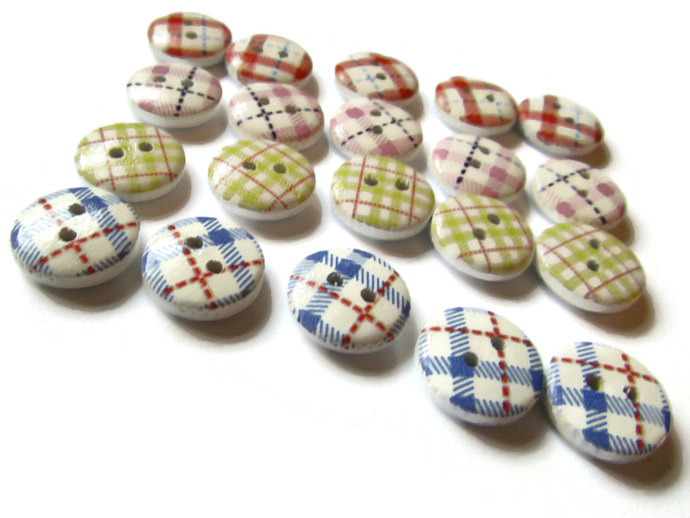 20 13mm Two Hole Buttons Assorted Color Tartan Plaid Buttons Round Buttons