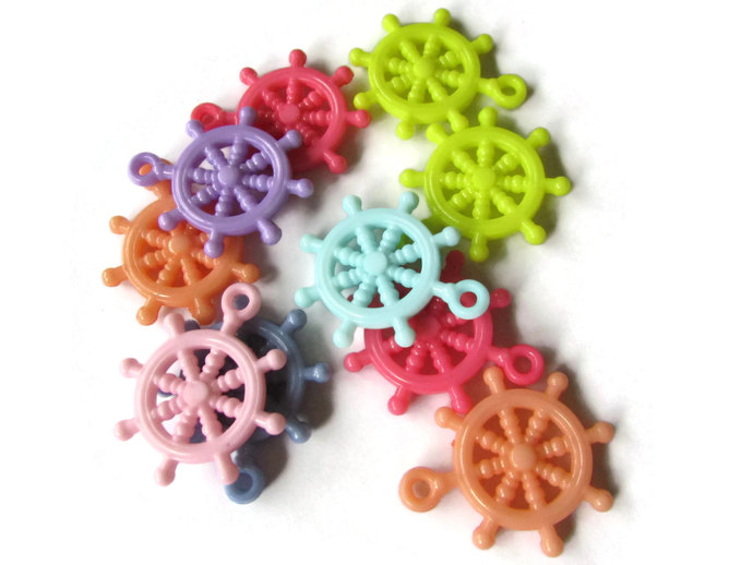 10 Multicolor Helm Ship Wheel Bead Helm Charm Pirate Beads Ship Charms Boat