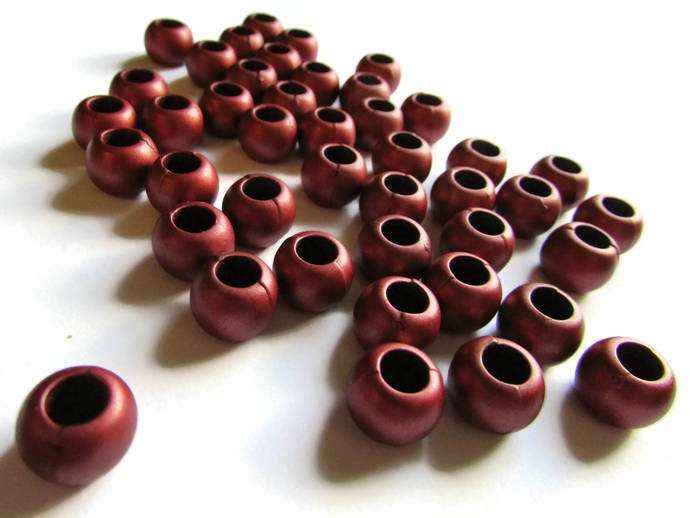 50 12mm Large Hole Beads Brick Red Beads European Style Beads Round Beads